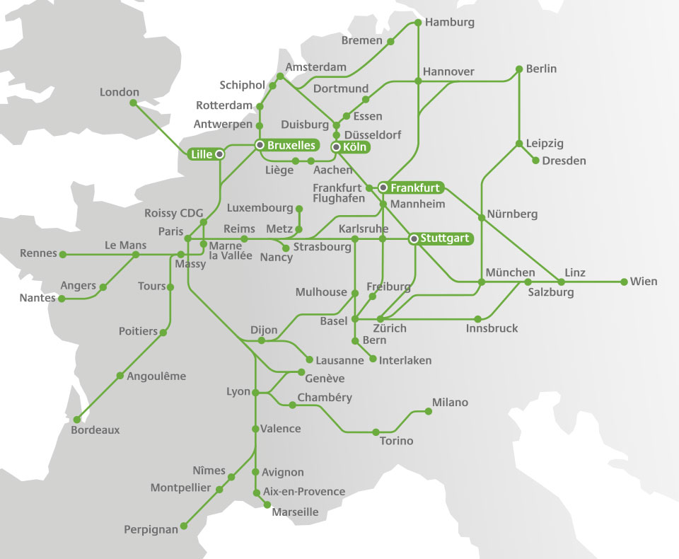 Railteam network map (lounges)